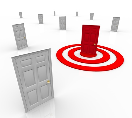 hone: One door is red in the middle of a target bullseye, representing a customer that has been selected for advertising or marketing Stock Photo