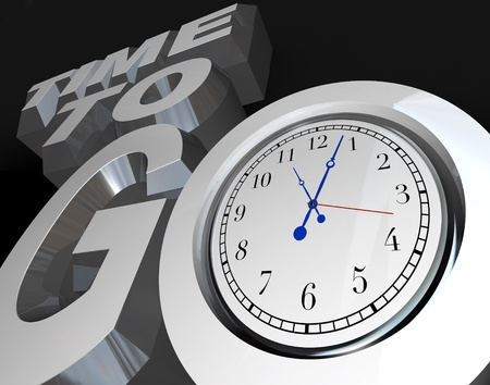 begin: The words Time to Go with a clock in the letter O, representing an encouragement to begin or start a project, competition or event