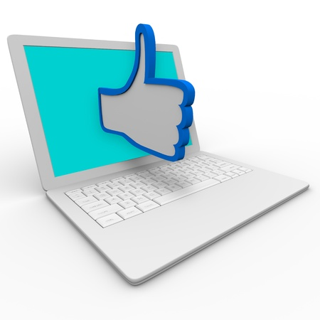 approving: A blue and white thumbs up symbol emerges from a laptop computer screen to illustrate approval or  a positive review for a person or thing on an internet website or social network site Stock Photo