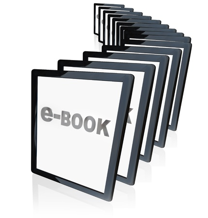 ebook: A line-up of tablet computers representing the growing popularity of e-readers, e-books and other new technological advances Stock Photo