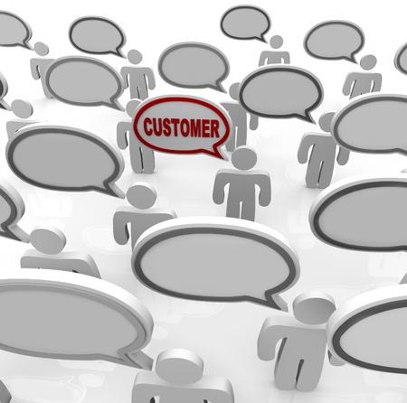 mucha gente: Mucha gente habla con burbujas de discurso que est�n en blanco y uno con la palabra del cliente, que representa la posibilidad de centrarse en las necesidades de un nicho dirigidos a consumidores en un mercado abarrotado Foto de archivo