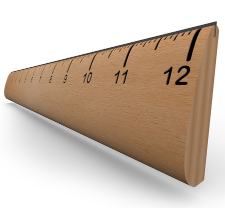 A wooden ruler with numbers and increment markings in a 3d rendering with shadow on white background