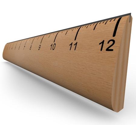 Une règle en bois avec des chiffres et des incréments dans un rendu 3d avec ombre sur fond blanc