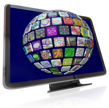 television screen: A HDTV television with a sphere of streaming content icons on its screen representing the wide variety of entertainment and information choices available to you