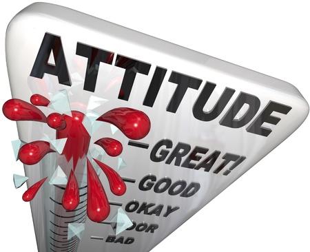 태도: A thermometer measuring the levels of your attitude, from Poor to Great, reflecting the different steps you rise past to get to your top state of positivity