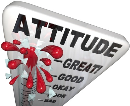 A thermometer measuring the levels of your attitude, from Poor to Great, reflecting the different steps you rise past to get to your top state of positivity Stock Photo - 9897438