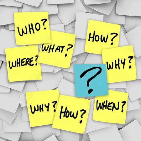 Veel sticky notes met vragen als wie, wat, allemaal waar, wanneer, hoe en waarom, en een vraagteken, geplaatst op een kantoor noteboard om verwarring te vertegenwoordigen in communincation