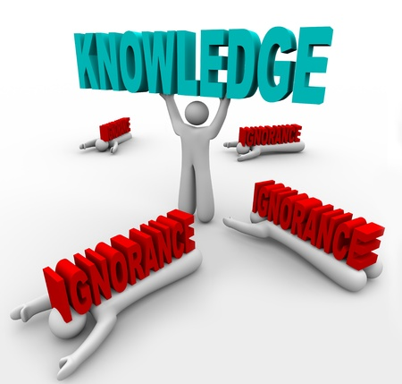 A man lifts the word Knowledge and beats others who are crushed by Ignorance, illustrating how you can win with intelligence versus those who drown in a lack of education and information photo