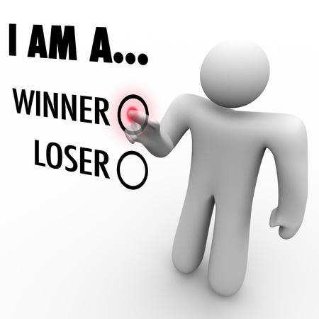 believe: Un hombre en una pared de pantalla táctil elige la palabra ganador para simbolizar su confianza en sí mismo  Foto de archivo
