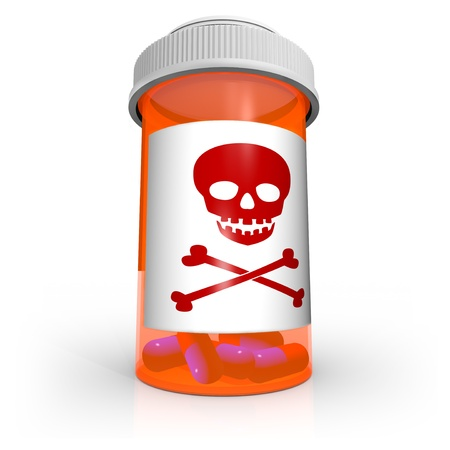 An orange prescription medicine bottle containing blue and red capsule pills and the skull and crossbones warning symbol on the label cautioning you to be careful with this dangerous medication Stock Photo