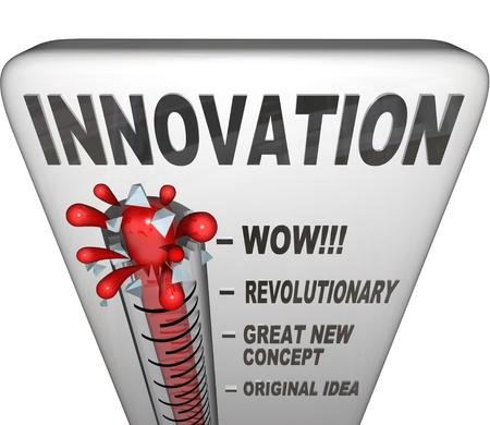 innovacion: Un term�metro de la innovaci�n de nivel como intenci�n e innovar para crear nuevas soluciones a problemas o maneras de completar tareas Foto de archivo