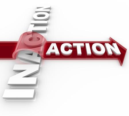単語アクション矢印に乗ると怠慢の怠惰とアイドル状態のプロアクティブな活動の勝利を示す単語を飛び越え
