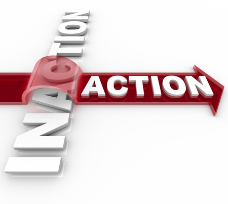 passive: The word Action riding an arrow and jumping over the word Inaction illustrating the triumph of proactive activity over laziness and inactivity