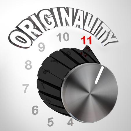 exceeding: El marcado de originalidad o mando est� activado hasta 11 superando y supera el nivel m�ximo normal de pensamiento �nico y la innovaci�n con nuevas ideas para resolver un problema Foto de archivo