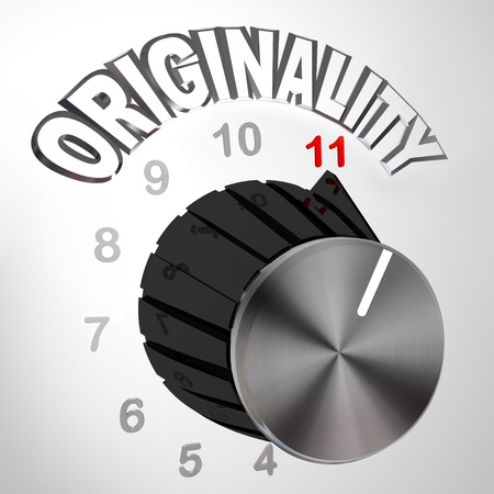 surpassing: The Originality dial or knob is turned all the way to 11 surpassing and exceeding the normal maximum level of unique thinking and innovation in coming up with new ideas to solve a problem