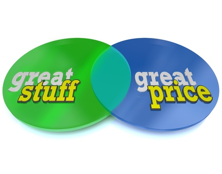 Great Stuff at a Great Price, two circles intersect in a Venn Diagram that illustrates the overlap of desirable merchandise and prices that you can afford Stock Photo - 10015102