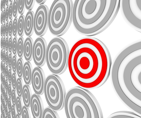 niche: Many bulls-eye targets in rows and one in red representing a niche market in a crowded marketplace of demographics and customers.  Pinpoint the right audience for your marketing message.