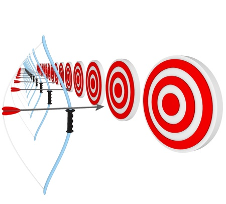 multiple targets: Many bows and arrows lined up and aiming at target bulls-eyes, representing a competition of several athletes or business people competing for a job or sale