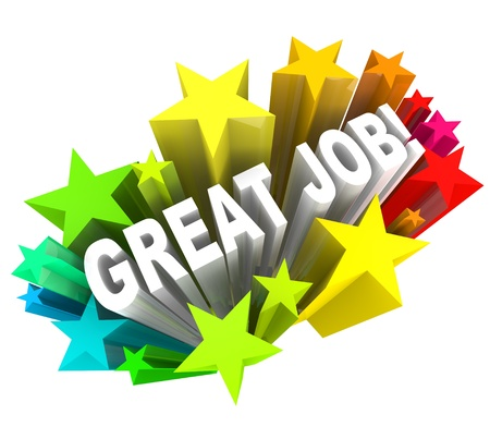 reconocimiento: Las palabras de gran trabajo rodeado por una ráfaga de estrellas coloridas, comunicación buena alabanza para un objetivo consumado y exitoso proyecto alcanzado