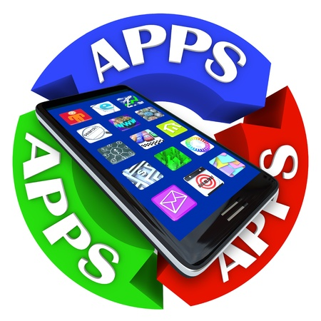 mobile app: A modern smart phone with app application icons on its display surrounded by arrows in a circle showing the word Apps