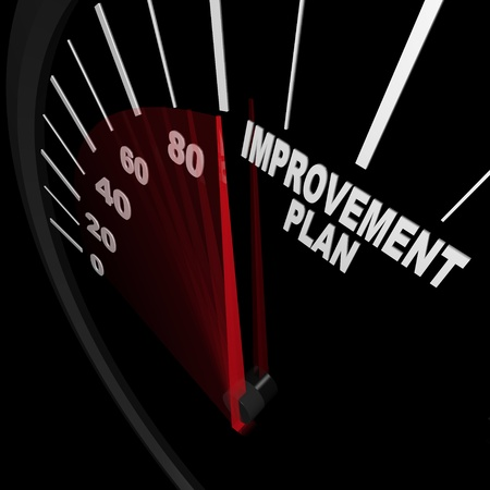 improve: A speedometer with red needle pointing to the words Improvement Plan, symbolizing the drive and ambition necessary to change and improve in order to be successful in reaching goals in life or a career