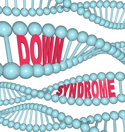 causing: The words Down Syndrome hidden in strands of DNA showing the hereditary qualities of the condition causing learning and developmental challenges