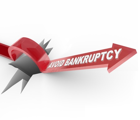 An arrow jumps over a hole, with the words Avoid Bankruptcy imploring you to beat the odds and overcome your budget challenges to remain financially successful and solvent Stock Photo - 10085894