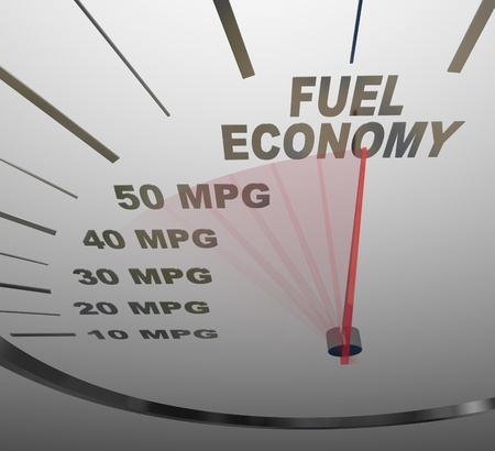 The words Fuel Economy on a vehicle speedometer with a red needle racing past numbers 10, 20, 30, 40, 50 MPG as the automobile achieves an improved efficiency rating as mandated by the government Standard-Bild
