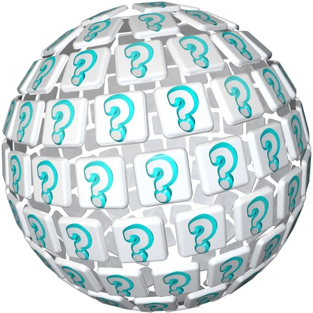 A sphere made up of tiles featuring question marks symbolizing a world of confusion or cusity and the hunt for answers to life's most confounding questions Stock Photo - 10160495