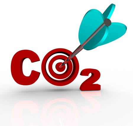 3d carbon: The letters CO2 representing Carbon Dioxide with a target bulls-eye in place of the O and an arrow hitting the middle of it, symbolizing a successful reduction of the harmful greenhouse gas