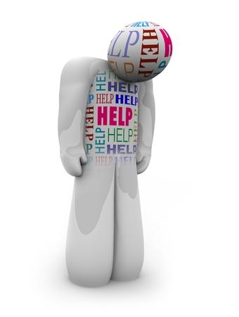 desperate: Una persona se encuentra con hombros slumped mirando triste, con la palabra ayuda escrito todo sobre él como un grito de ayuda