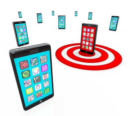 mobile app: Many modern smart phones with touch screens showing a menu of application app icons and one phone is targeted with a red bulls-eye target