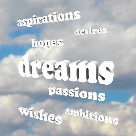 Several words around the word Dreams representing our goals in life  desires, passions, ambitions, hopes, aspirations, wishes