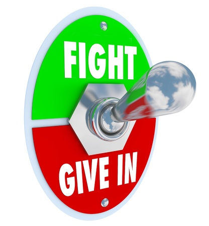 opt: A metal toggle switch with a plate and the words Fight on the top and Give In on the bottom.  Flip the lever to choose to make a stand for something you believe in, or take the easy way out and throw in the towel