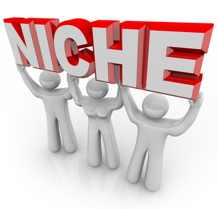marketed: A team of people lift the word Niche symbolizing a unique group of customers who can be marketed and sold to by nature of their special wants and needs