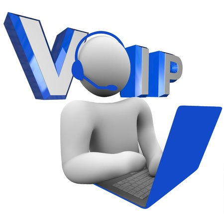 voip: The word acronym VOIP or V.O.I.P. illustrated behind a person talking to someone via his laptop computer on the internet using the latest communication technology