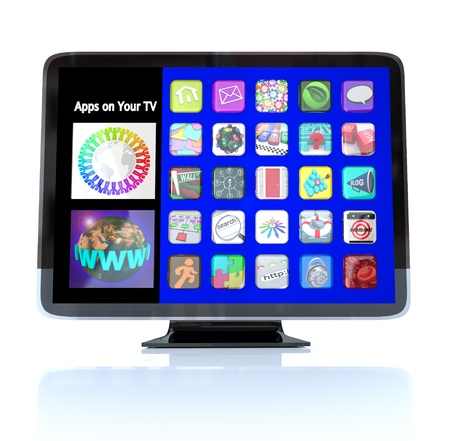 web site: A HDTV television with a menu of application app icons  Stock Photo