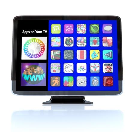 net surfing: Una televisione di HDTV con un menu di icone di applicazione app