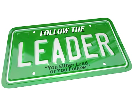 A green license plate featuring the word Leader Stock Photo - 10257107