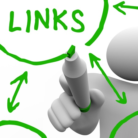 linking: A person draws a series of links connecting in a network of referrals, representing a well search engine optimized website or an organization of connected people