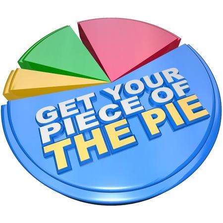 camembert graphique: Un diagramme circulaire mesurant color� part de la richesse des caract�ristiques les mots Get Your Piece of the Pie comme un encouragement � r�clamer votre part �quitable de la richesse de l'argent, le revenu et financi�res