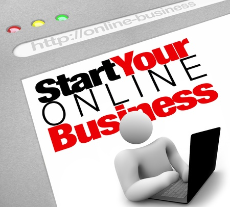 website words: A website screen promises to instruct you on how to set up and launch your own web presence for your internet business in order to generate traffic and drive sales Stock Photo