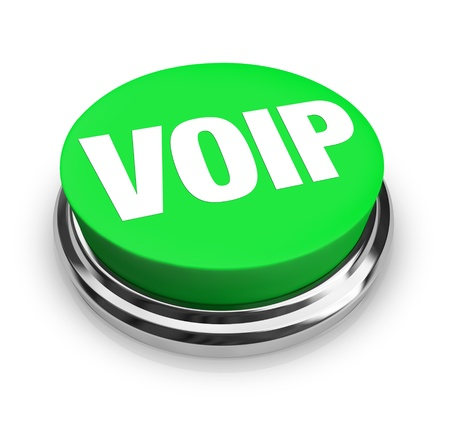 A green button with the word VOIP on it, standin for voice over internet protocol, a technology that allows you to make phone calls over the internet for little or no cost, saving money on telephone communication Фото со стока