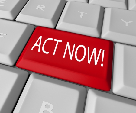 correspond: Act Now to take advantage of a special limited time offer or take action to right a wrong and stand up for a civil good, all by pressing this red key on a computer keyboard Stock Photo
