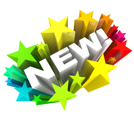 new products: The word New in white letters surrounded by a burst of stars or fireworks, announcing a new product or improved object, service or a news announcement Stock Photo