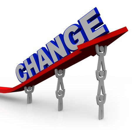 The word Change on an arrow that is rising by being lifted by a team of people working together to reach goals and achieve success and transformation photo
