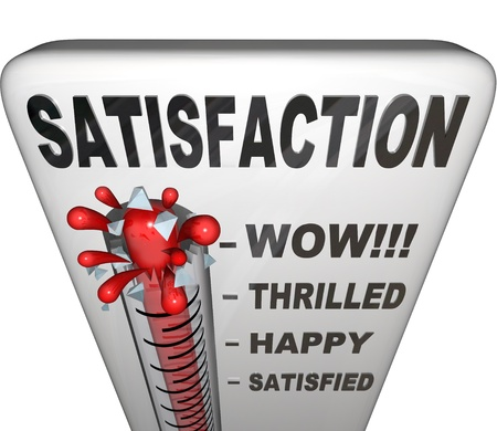 pleasing: A thermometer topped with the word Satisfaction measures the happiness a person or customer has with his or her experience in a retail or other environment, with the mercury rising past levels for satisfied, happy, thrilled and wow