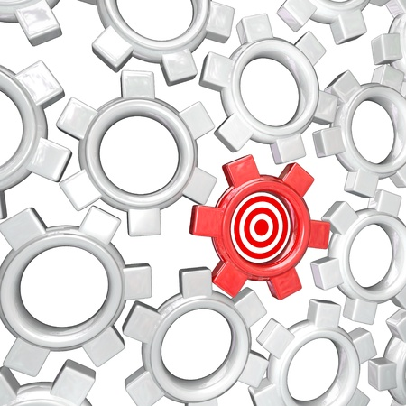 synergies: One gear in a mechanism of turning gears, symbolizing workers or teammates in an organization, is singled out and targeted as the most important player in the team
