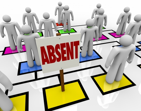 absent: An open spot on an org chart is left by someone who has gone missing, either out on medical leave or on vacation or just late, or perhaps even fired, and in his or her place is a sign reading Absent Stock Photo
