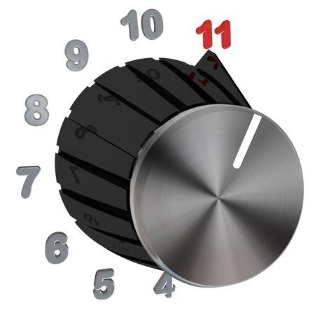 ruido: Un marcado con un anillo de n�meros que suben al n�mero 11, que representa la posibilidad de insertar algo al m�ximo, el volumen de m�sica o su emoci�n en completar una tarea Foto de archivo